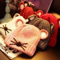 baby velvet yarn - hot sales christmas halloween winter children christmas gift winter new baby with velvet thickening cat hat Warm cartoon
