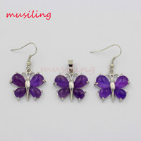 Earrings & Necklace agate butterfly - Jewelry Sets Necklace Pendants Earrings Natural Gem Stone Butterfly Jewelry Set Accessories Fashion Charms Amulet Jewelry For Women
