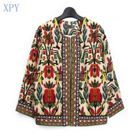 Wholesale XPY Slim New Fashion Jacket Women Spring Autumn Outerwear Vintage Women Lady Ethnic Floral Print Embroidered Short Jacket