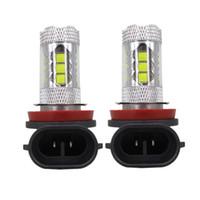 achat en gros de h11 tête automatique de lumière-H8 H11 LED 80W 1600 Lumen Car Fog Head lights DRL Car Signal Reverse Light Lamp 6000k Remplacement automatique Blanc Jaune 050