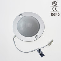 Placards blancs France-Vente en gros- Smd3528 Projecteur à LED de 1,7W 12V rond sous l'éclairage Cabinet Meuble Showcase Downlight Plafond mural blanc / blanc froid et chaud