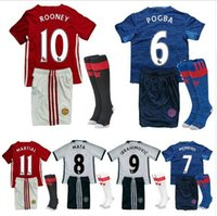 away buy - Mixed buy Top Quality kids Short sleeve suit socks MancHester soccer Jerseys home away UnITED Ibrahimovic POGBA