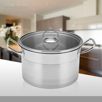 Wholesale 22cm Stainless Steel Ears Soup Pan with Glass Cover General Soup Pot