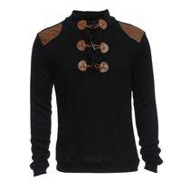 al por mayor mosaico diseña parches-SENTIMIENTO BIEN Hombre Invierno de manga larga perfecto jersey Suéter informal Patch de cuerno de diseño Botón Hombre chaqueta de suéter