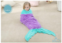 Cheap Children 's new mermaid tail sleeping bag baby sleeping nightgown two floor cotton pajamas Package mail