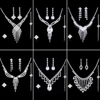 Wholesale Luxury Shinning Rhinestone Lady Necklace Earring Sets Bridal Accessories Jewelry Set for Women Wedding Party Evening Prom Gift