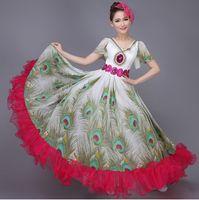 ballroom dancewear men - Free ship peacock printing hot pink ruffled sequined dancewear ruffled peacock dress