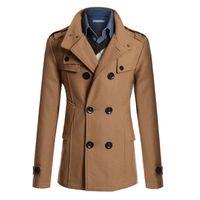 Wholesale Woolen Coat Men Turn down Collar Medium Long Jacket Men Coat Overcoat Brand Clothing OL Slim Man Coats And Jackets