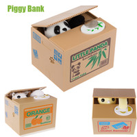 Wholesale White Yellow Cat Panda Automatic Stealing Coin Cat Kitty Coins Penny Cents Piggy Bank Saving Box Money Box Kid Child Gift