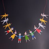 Wholesale Hand in Hand Cartoon Banners Paper Flags Garland Baby Shower Kids Event Party Supplies Birthday Party Decorations Kids QB642030