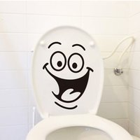 Wholesale QT Cartoon Smile Toilet Stickers Wallpapers All match Style Art Mural Waterproof For toilet Home Decor Backdrop Removable
