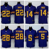 al por mayor jerseys de vikingo-Minnesota masculino y vikingos 14 Stefon Diggs 55 Anthony Barr 22 Harrison Smith 28 Adrian Peterson Color púrpura Rush limitado Jersey