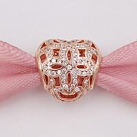 Día de San Valentín 925 cuentas de plata Rose Operwork corazón encanto con claro Cz se adapta a Europa Pandora estilo joyas pulseras 780003CZ oro chapado