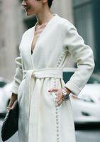 Wholesale 2016 winter new women s fashion split pearl beads double sided it long coat woolen jacket
