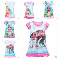 beach designs clothing - 6 Designs Moana Girls Cartoon Dresses Summer Kids Beach Dress Short Sleeve MOAMA Polyester Nightdress Kids Summer Clothing CCA5478