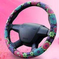 Wholesale Steering Wheel Cover Cartoon Flowers Steering Cover All Seasons Wheel Cover cm Diam Car Accessory