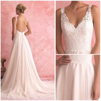 Wholesale Sexy Beach Wedding Dresses A Line Deep V Neck Backless Lace Covered Button Sweep Train Real Photos New Arrival Bridal Gowns