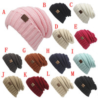 Wholesale 2017 New fashion men women hat CC Trendy Warm Oversized Chunky Soft Oversized Cable Knit Slouchy Beanie color hat1