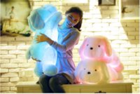 Wholesale 50CM Tall Luminous Stuffed LED Light Up Plush Glow Teddy Dog Puppy Auto Color Rotation Illuminated Pillow Gift
