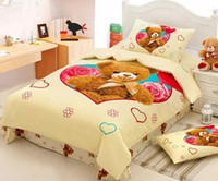 Wholesale Teddy Bear Bedding set duvet cover bed in a bag sheet Cartoon cute Baby Kids children bedspread bedroom Queen size Twin Cotton