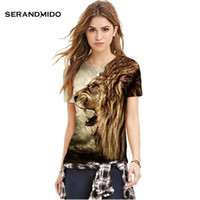 Wholesale Serand Mido Lion Print D Women Men s T shirt Animal Sexy Fashion T shirts Polyester High Quality Women s Tees And Tops SMPST005