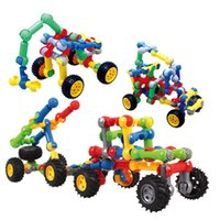 Wholesale Geometric car blocks children puzzle and educational toys plastic assemble toys the best gift for children