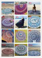 Wholesale 2017 Round Mandala Beach Towels Printed Tapestry Hippy Boho Tablecloth Bohemian Beach Towel Serviette Covers Beach Shawl Wrap Yoga DHL free