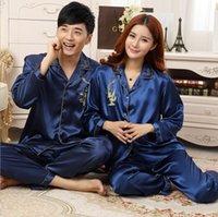 Cheap Women Fashion Silk Pajama Lady Silk Pajamas Sleepwear Men Silk Pajama both for Wife and Husband Soft Comfortable Free Shipping