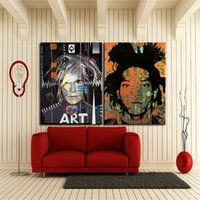 andy warhol decor - 2pcs Jean Michel Basquiat with andy warhol Hand Painted Pop Art Oil Painting Home Wall Decor High Quality Canvas custom size