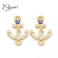 Wholesale Rose Gold Plated Fatima Hamsa Evil Eye Anchor Rudder Connectors fit Jewelry Making Findings Handmade Findings Accessories DIY Craft