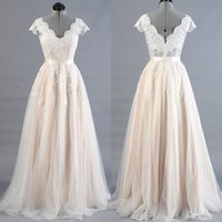 Wholesale 2017 Real Photo Lace Wedding Dresses New Sexy Custom Made A Line V Neck Sweep Train Illusion Bodice Hot Sale Design Bride Gowns Actual Image