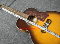 2017 nueva guitarra de la marca de fábrica SJ200 sunburst madera tigre grano abalone incrustación guitarra acústica en stock China guitars