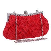 beaded handbag charms - Fashion Satin Beaded Crystal Knitted Clutch Evening Bags Women Bag Charm Handbag Party Dress Styles High Quality New
