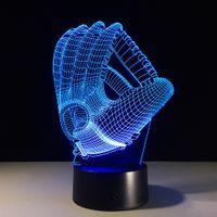 baseball glove design - Creative D illusion Lamp LED Night Lights Baseball Glove Design Novelty Acrylic Discoloration Atmosphere Lamp