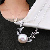 al por mayor collar de navidad niñas esterlina-Collar de plata de la cuerna, collar simple de la cuerna del reno de la plata esterlina 925, collar de la perla, regalo de la Navidad para la muchacha