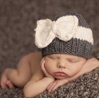 baby ebay - Baby knitting wool hat ebay hot fight spell color bow hat baby warm winter hat European style HJIA1091