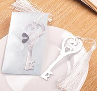 Wholesale 100PCS wedding favors and gifts factory price quot a key to your heart quot metal bookmark with tassel Birthday Gift RL95