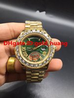 Wholesale NEW Luxury mm Gold Big diamond Mechanical man watch Rome diamond nail dial Automatic Stainless steel men s watches NEW dial Blue Diamond