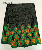 Wholesale christmas fabric for sewing african bazin riche fabric in green and black high quality yard TBZ