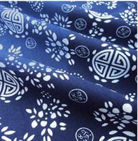 batik quilt - Blue printed cloth Handmade batik fabric blue flower blue and white cotton cloth Chinese national wind cloth curtain