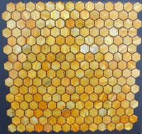 Wholesale 20mm yellow Hexagon Geometric Pearl Mosaic Tiles Backsplash