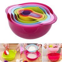 Wholesale 8 in set Multicolor Kitchenware Set Kitchen Bowl Set Househould Dinnerware Sets Rainbow Bowl Suits Measuring Cup Spoon KKA1060