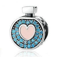 Wholesale Romantic Sterling Silver Soft Pink Heart Blue Crystals Perfume Bottle Charms Fit DIY Bracelets Jewelry