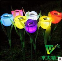 Wholesale Christmas Decoration PVC Solar Energy Tulip Shaped Light Rose Flower Night Light Romantic Ligh Lawn Lamps CCA5271