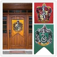 Wholesale 75 cm Harry Potter Gryffindor Hufflepuff Slytherin Ravenclaw Flag Hogwarts College Flag Home Decor Polyester Banner