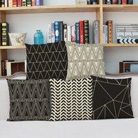 Wholesale Throw Pillow Cover Wave Cushion Covers Cotton Linen Geometric Patterns Decorative Pillow Case Covers CM