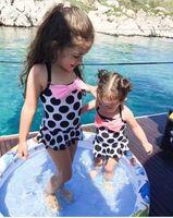 bathing news - 2017 Ins News Girl Summer Swinwear Children Polka Dot Bownot Bikini Cute Baby Girl Onesies Bathing Suit