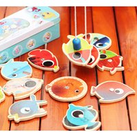 Cheap Wholesale-16pcs lot Wooden Magnetic Fishing Toys w  2 Rod For Kids Child Play Fishing Games Outdoor Boy Toys