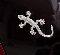 automotive body supplies - 1pcs Car Decals cm cm Diamond Gecko Stickers Pure Metal Point Diamond Gecko Car Stickers Automotive Supplies
