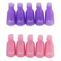 Wholesale 10PCS Plastic Nail Art Off Cap Clip UV Gel Polish Remover Wrap Tool Cleaner Purple Pink NAS_20G